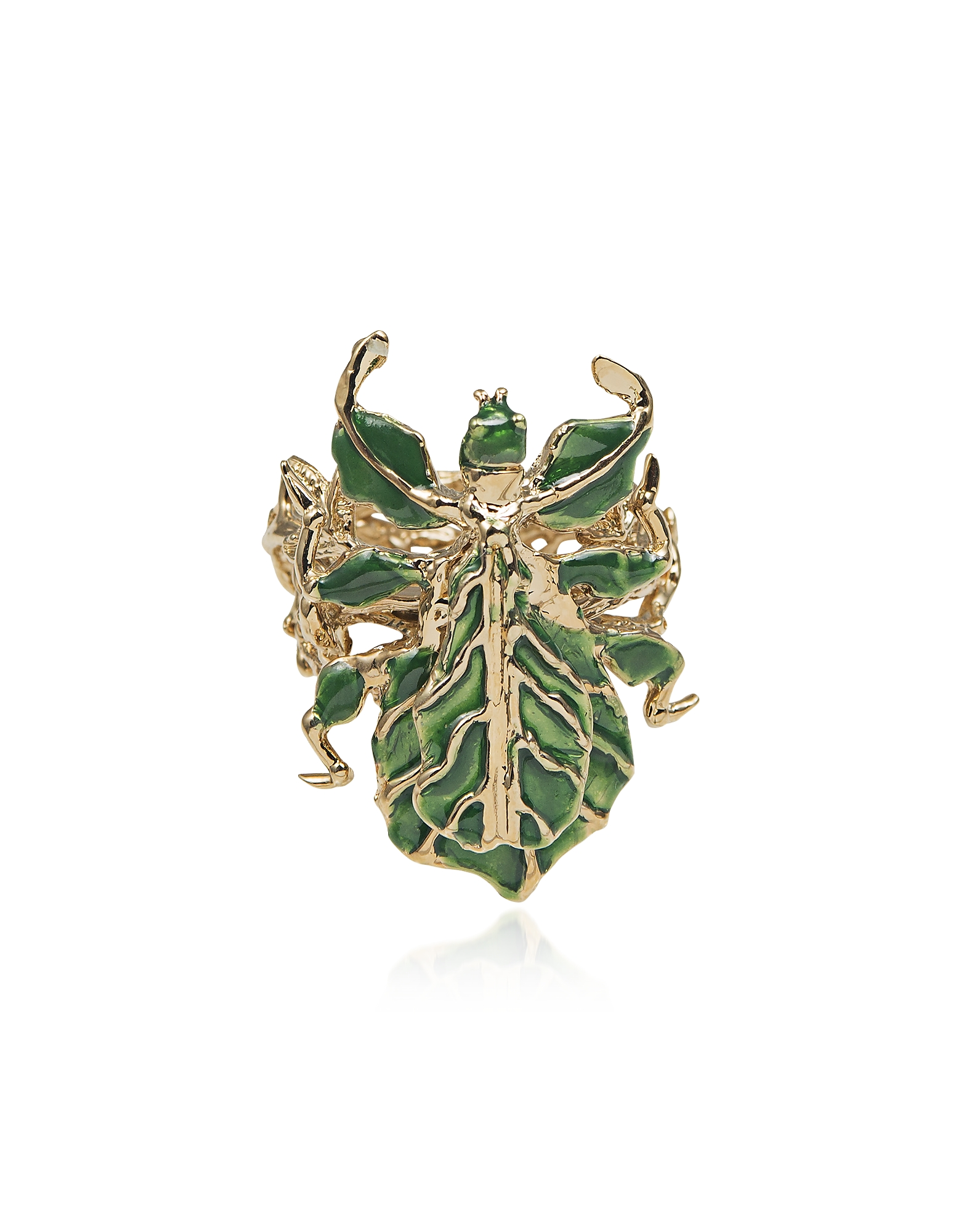 Leaf Insect Bronze Ring w/ Enamel