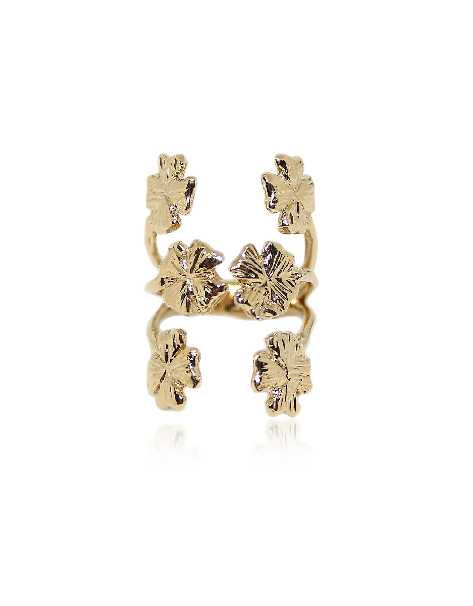 Bronze Ring w/ Six Four-Leaf Clovers
