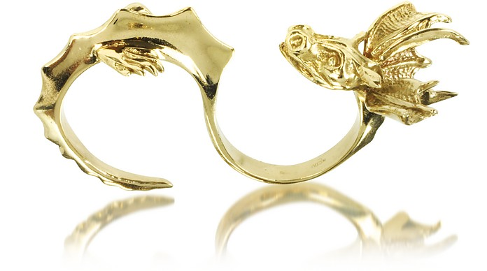 Bronze Two Fingers Dragon Ring - Bernard Delettrez