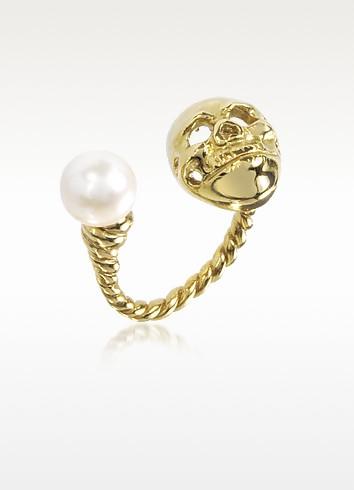 Bronze Skull Ring w/Pearl - Bernard Delettrez
