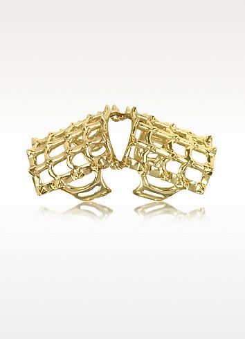 Cage and Studs Articulated Bronze Ring - Bernard Delettrez