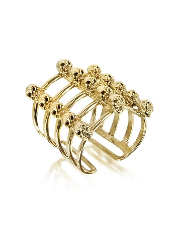 Bernard Delettrez - Cage and Skulls Bronze Ring