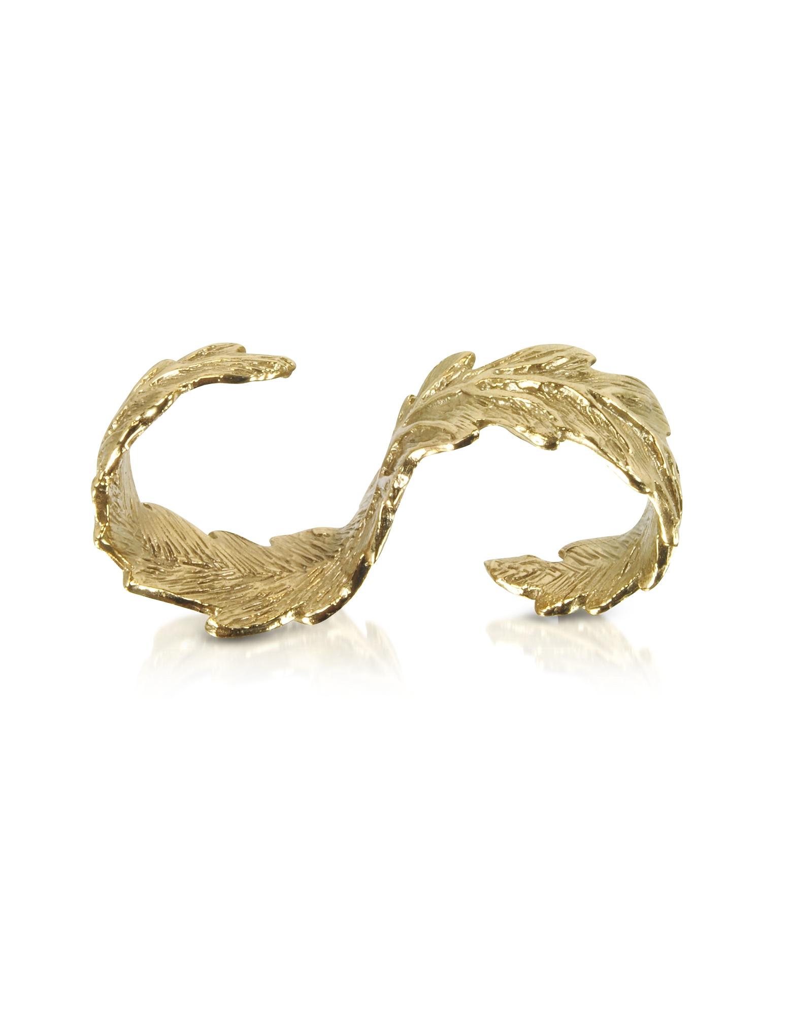 Фото Бронзовое Кольцо на Два Пальца с Листьями. Купить с доставкой