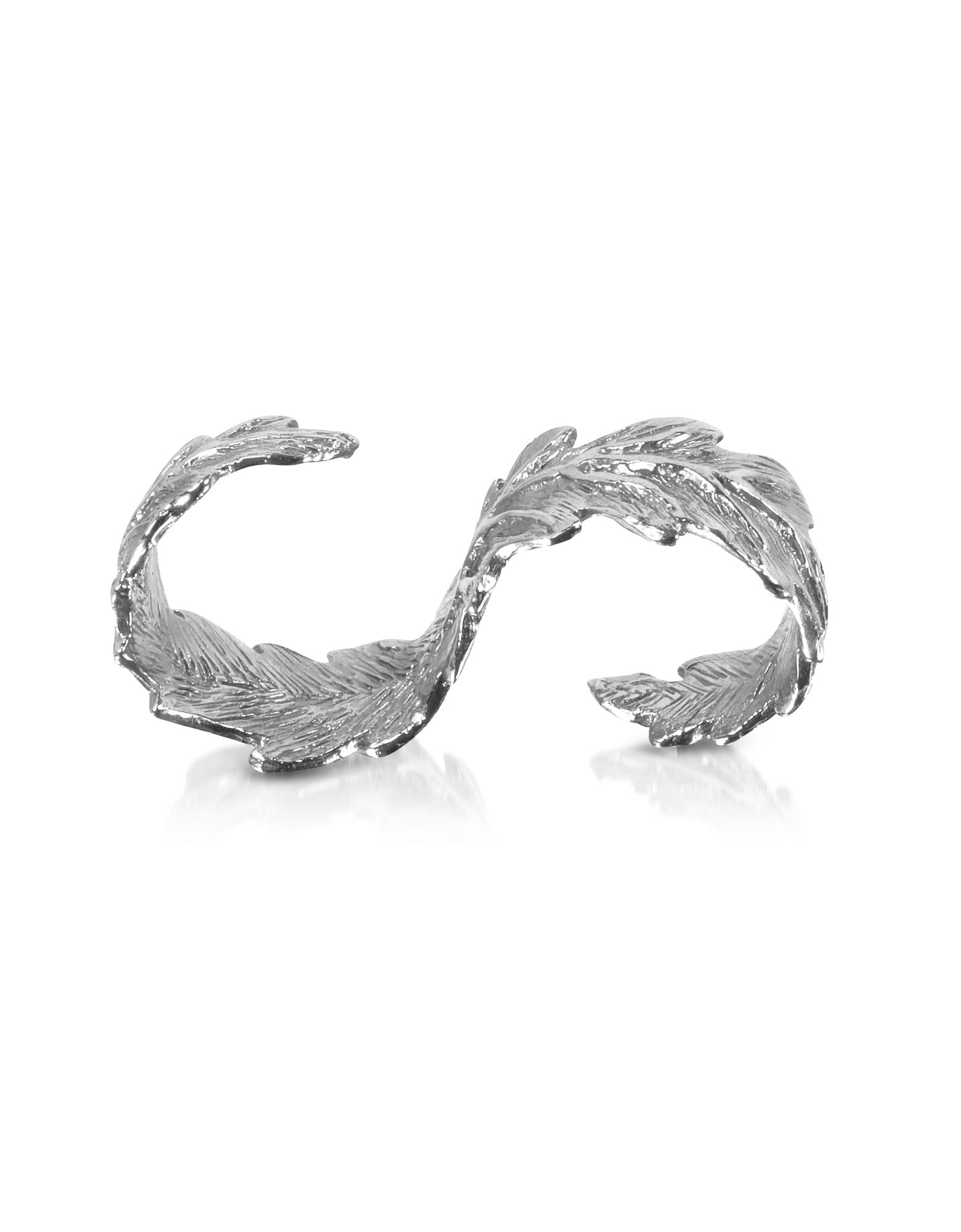 Серебряное Кольцо на Два Пальца с Листьями