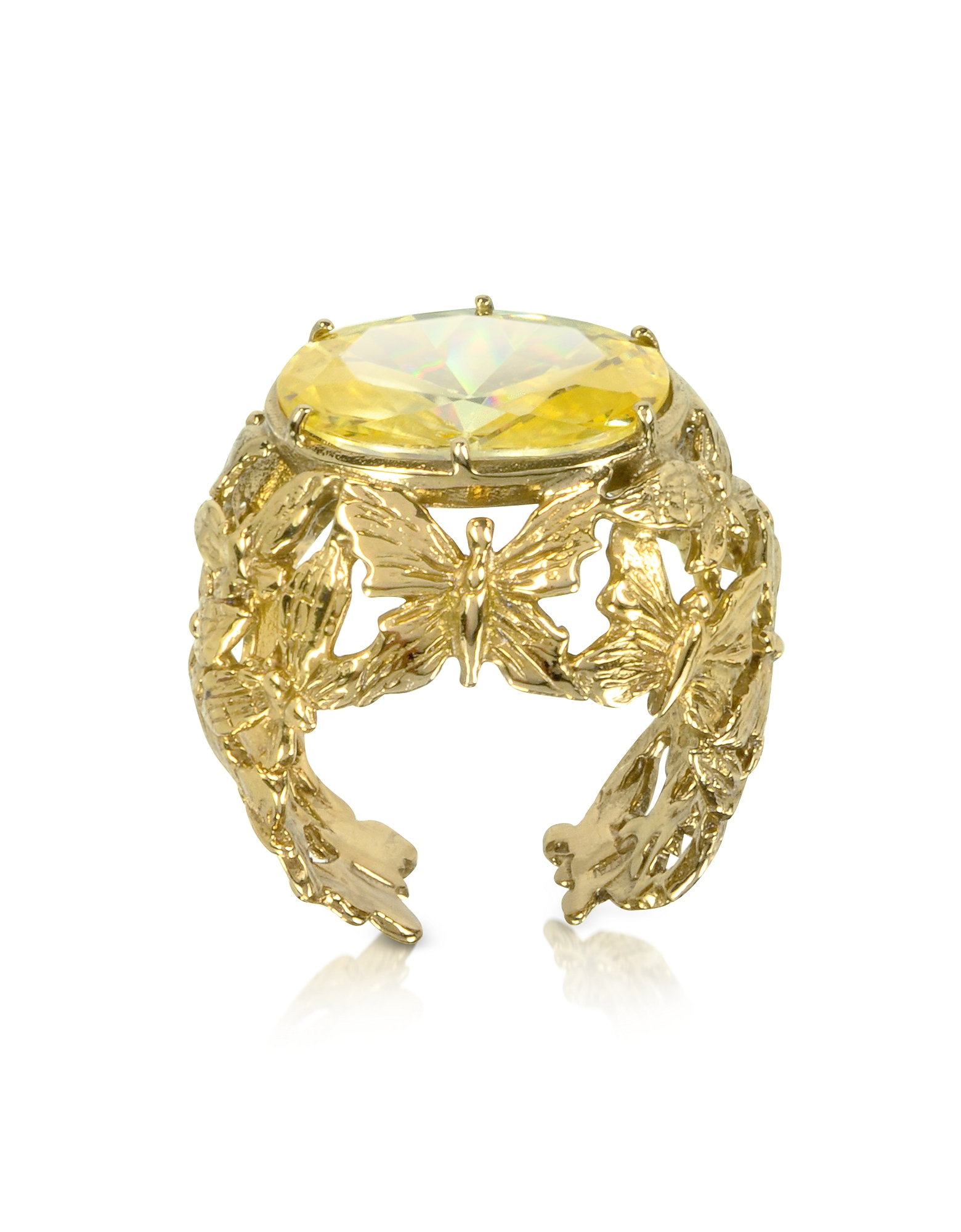 Bernard Delettrez Rings, Bronze Dome Ring w/Butterflies and Yellow Cubic Zirconia
