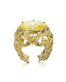 Bronze Dome Ring w/Butterflies and Yellow Cubic Zirconia - Bernard Delettrez