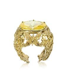 Bronze Dome Ring mit Schmetterlingen und gelbem Zirkon - Bernard Delettrez
