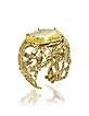 Bronze Dome Ring w/Butterflies and Yellow Cubic Zirconia - Bernard Delettrez