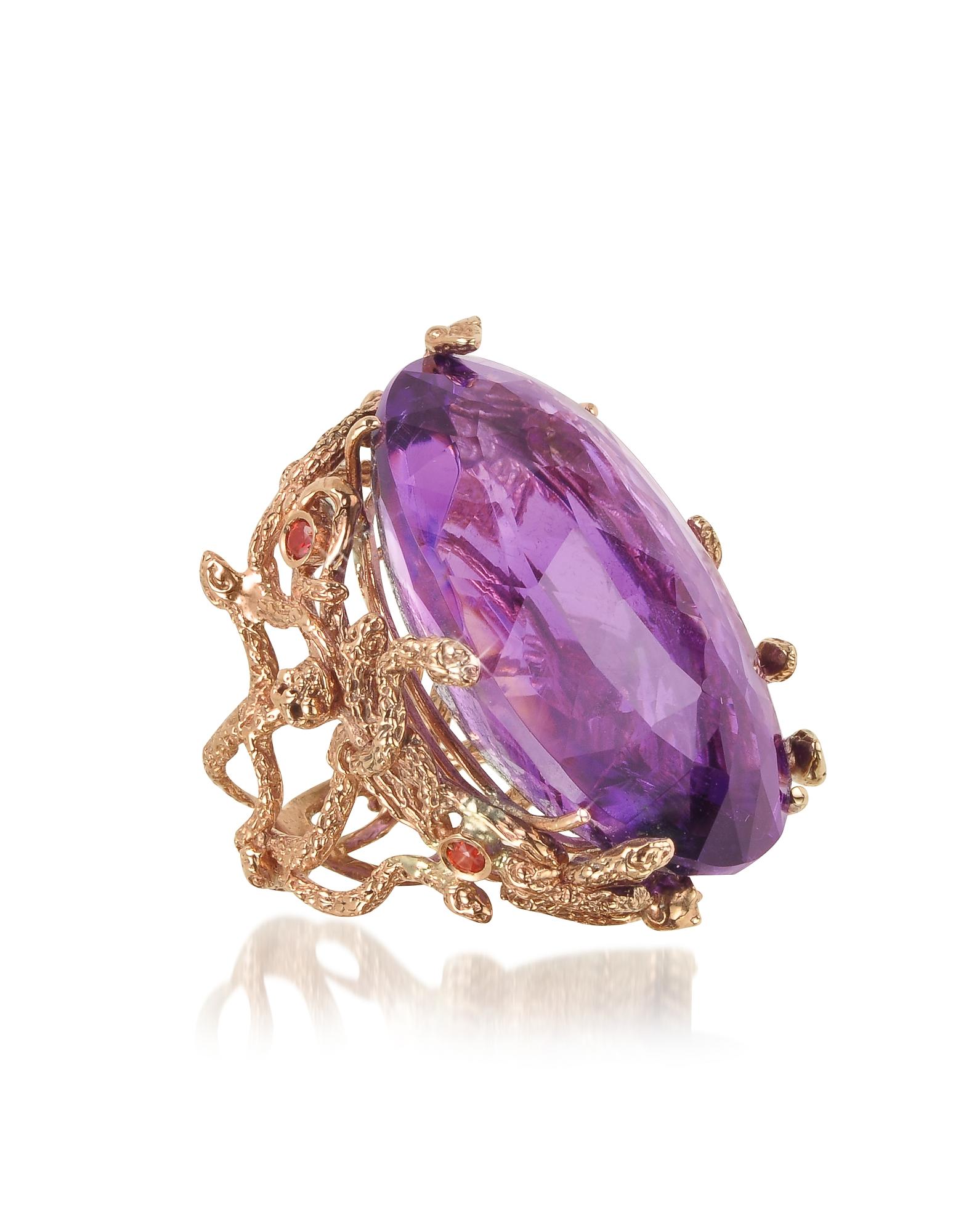 Bernard Delettrez Rings, Medusa Rose Gold w/Dark Violet Amethyst Medusa Ring