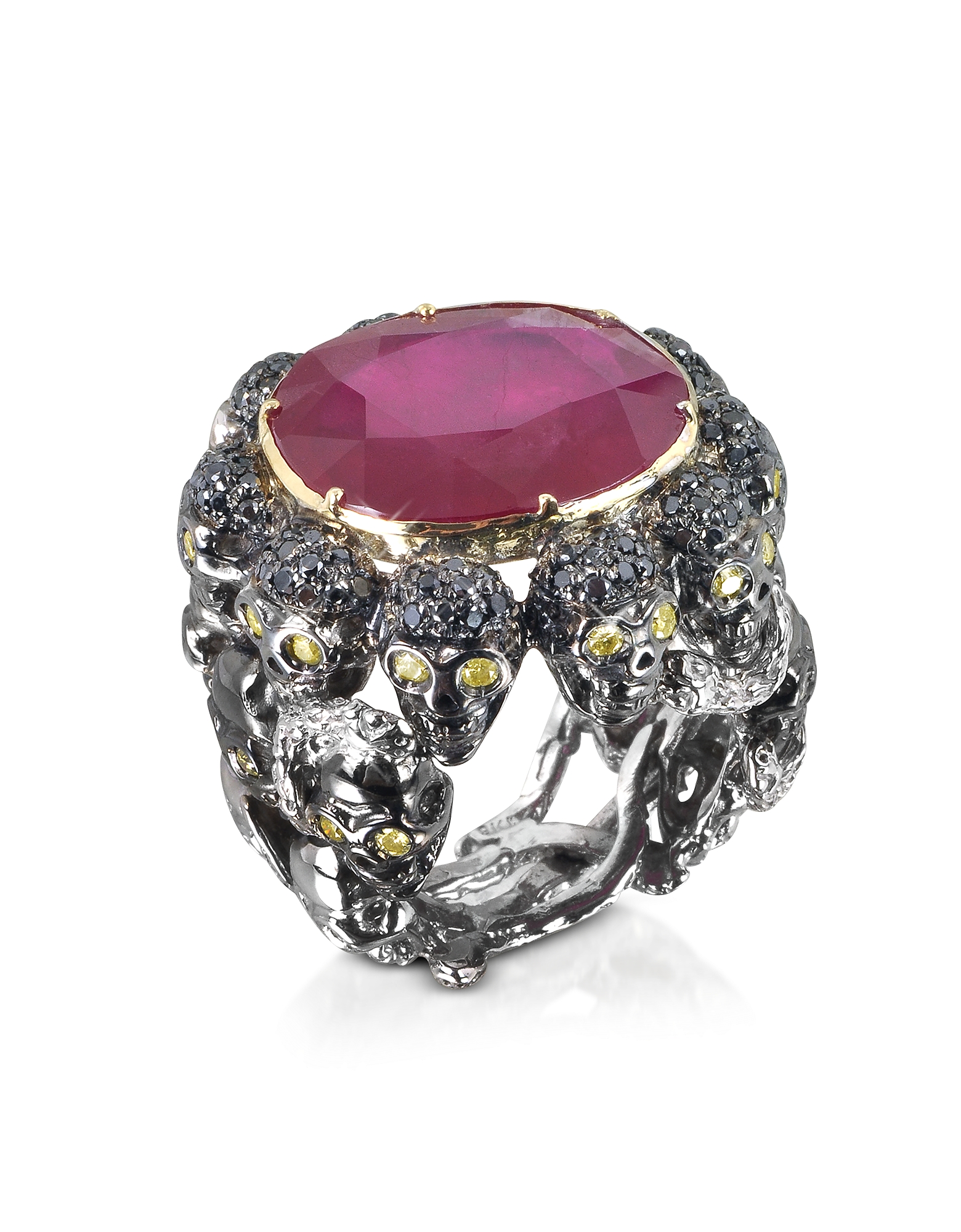 Bernard Delettrez Rings, Skulls and Snakes Black Ring w/Glass-treated Ruby