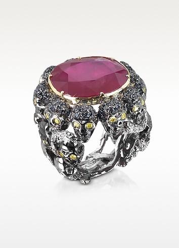 Skulls and Snakes Black Ring w/Glass-treated Ruby - Bernard Delettrez