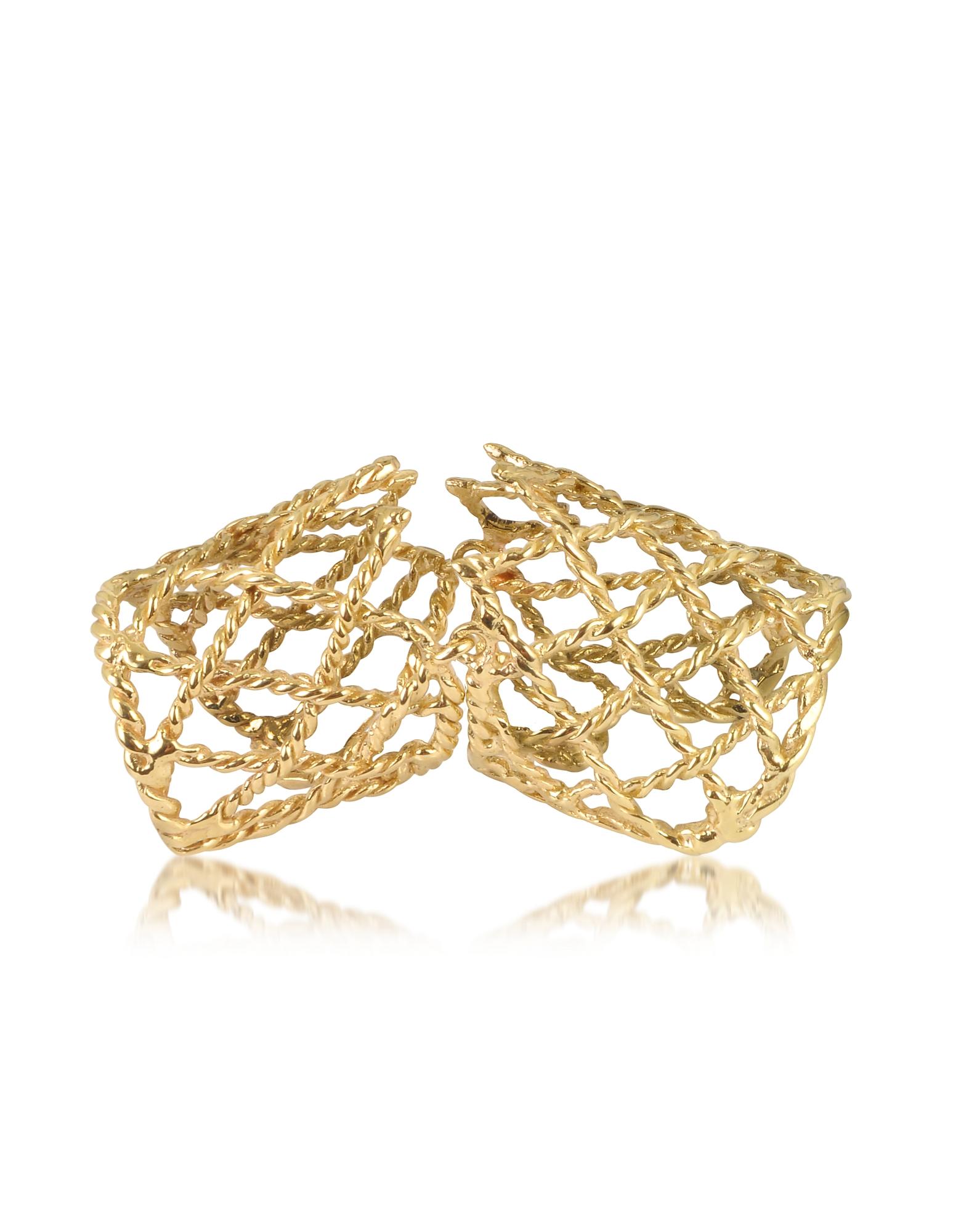 Bernard Delettrez Rings, Gold Articulated Basket Weave Ring