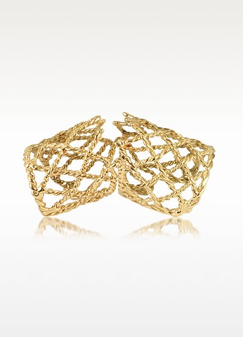 Gold Articulated Basket Weave Ring - Bernard Delettrez