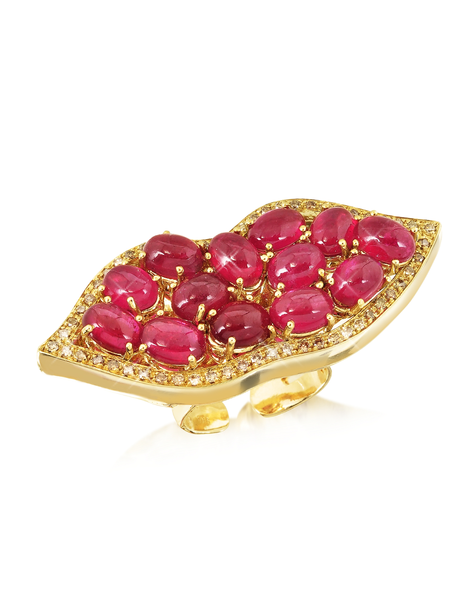 Big Mouth w/Cabochon Rubies Gold Ring