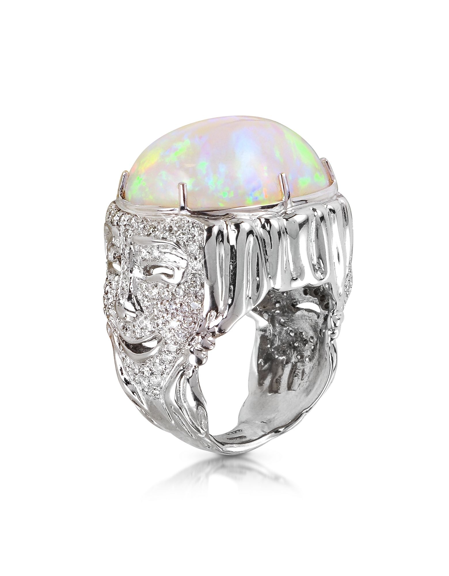 Bernard Delettrez Designer Rings, Drama Masks Gold Pave Ring w/Opal and Diamonds