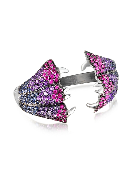 Bernard Delettrez Carnivorous Flower w Sapphires and Amethysts Gold Pave Ring