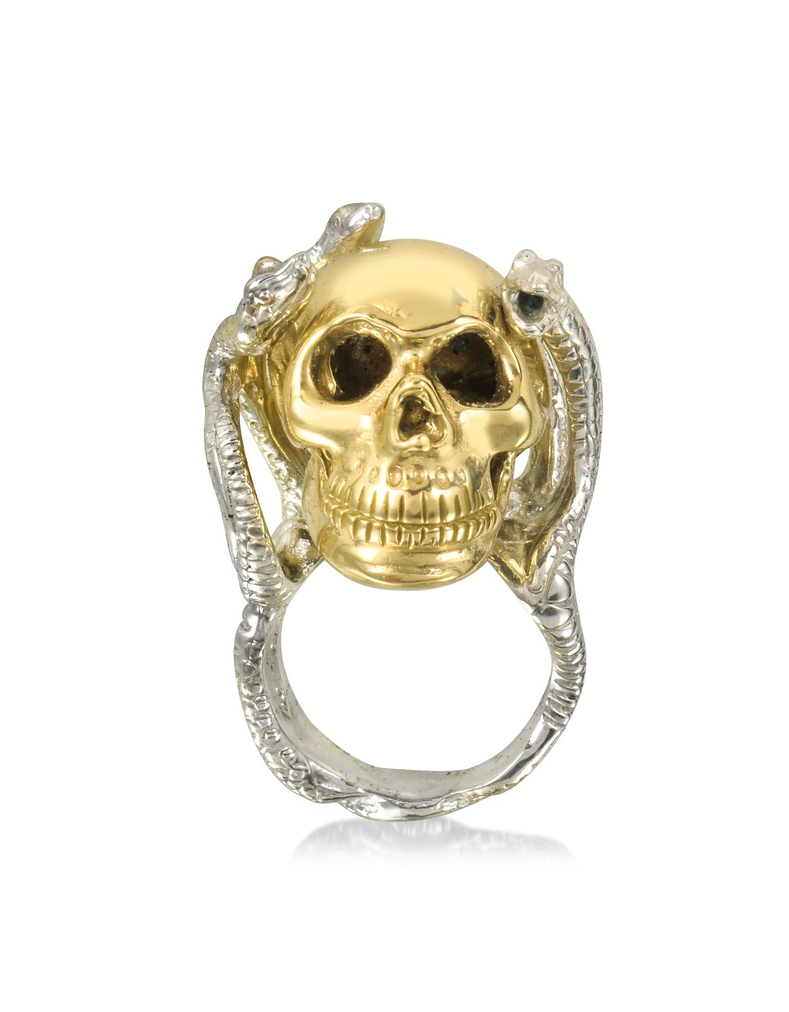 Bernard Delettrez Rings, Four Snakes Ring w/Bronze Skull