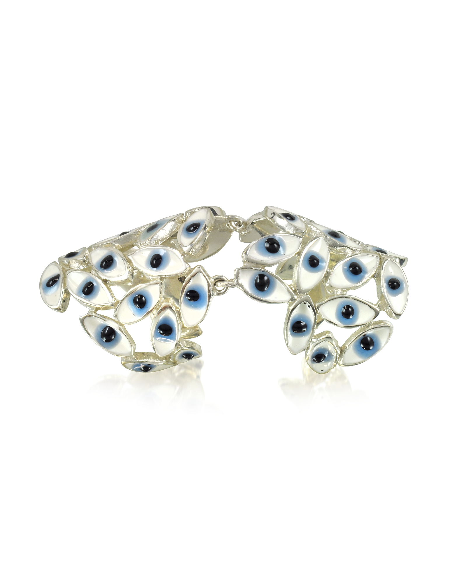 Anello Articolato in Argento con Occhi Blu