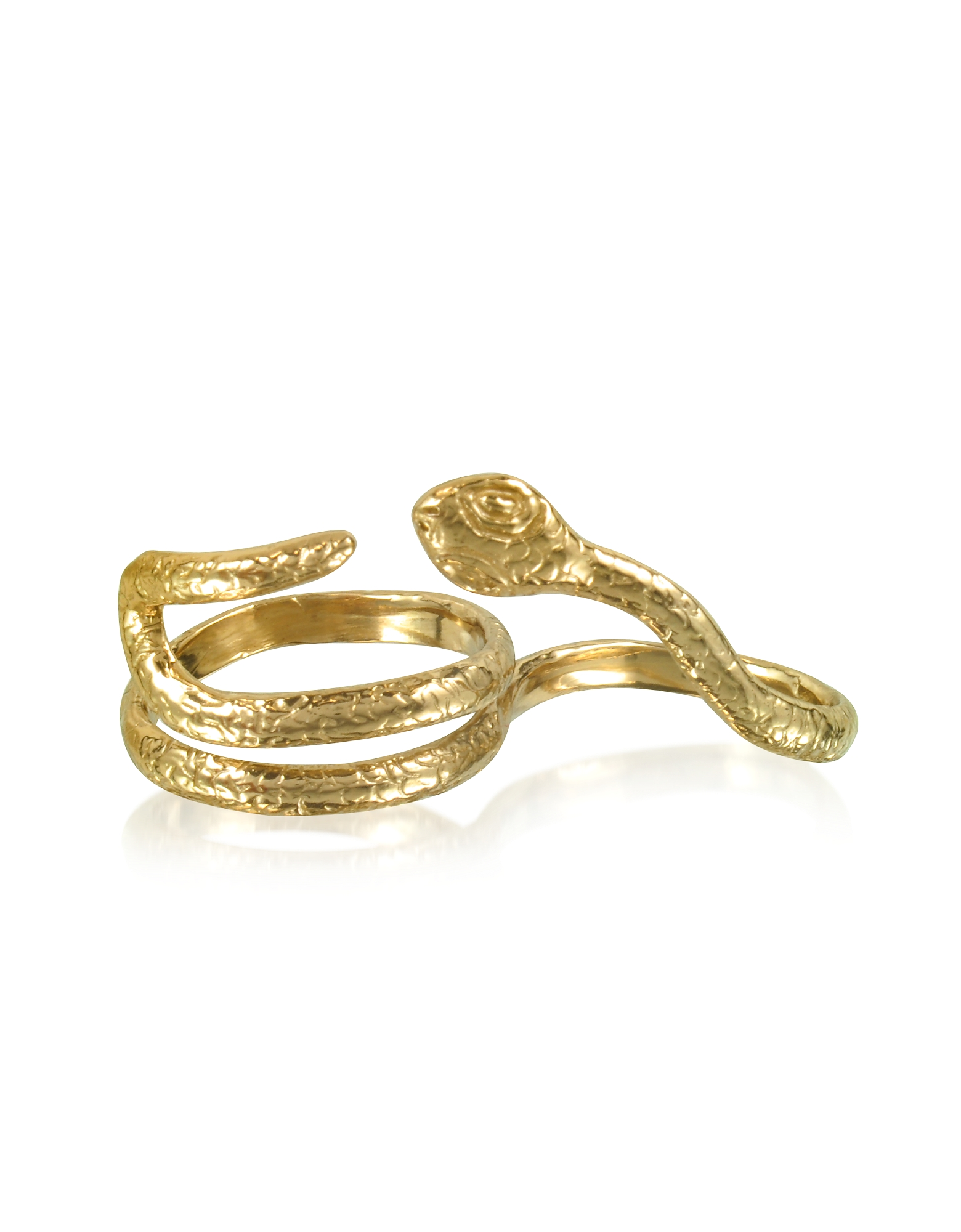 Bernard Delettrez Rings, Two Fingers Bronze Ring w/2 Laps Snake
