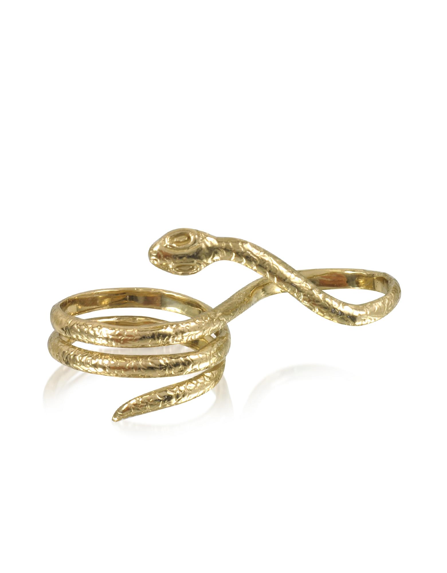 Bernard Delettrez Rings, Two Fingers Bronze Ring w/3 Laps Snake