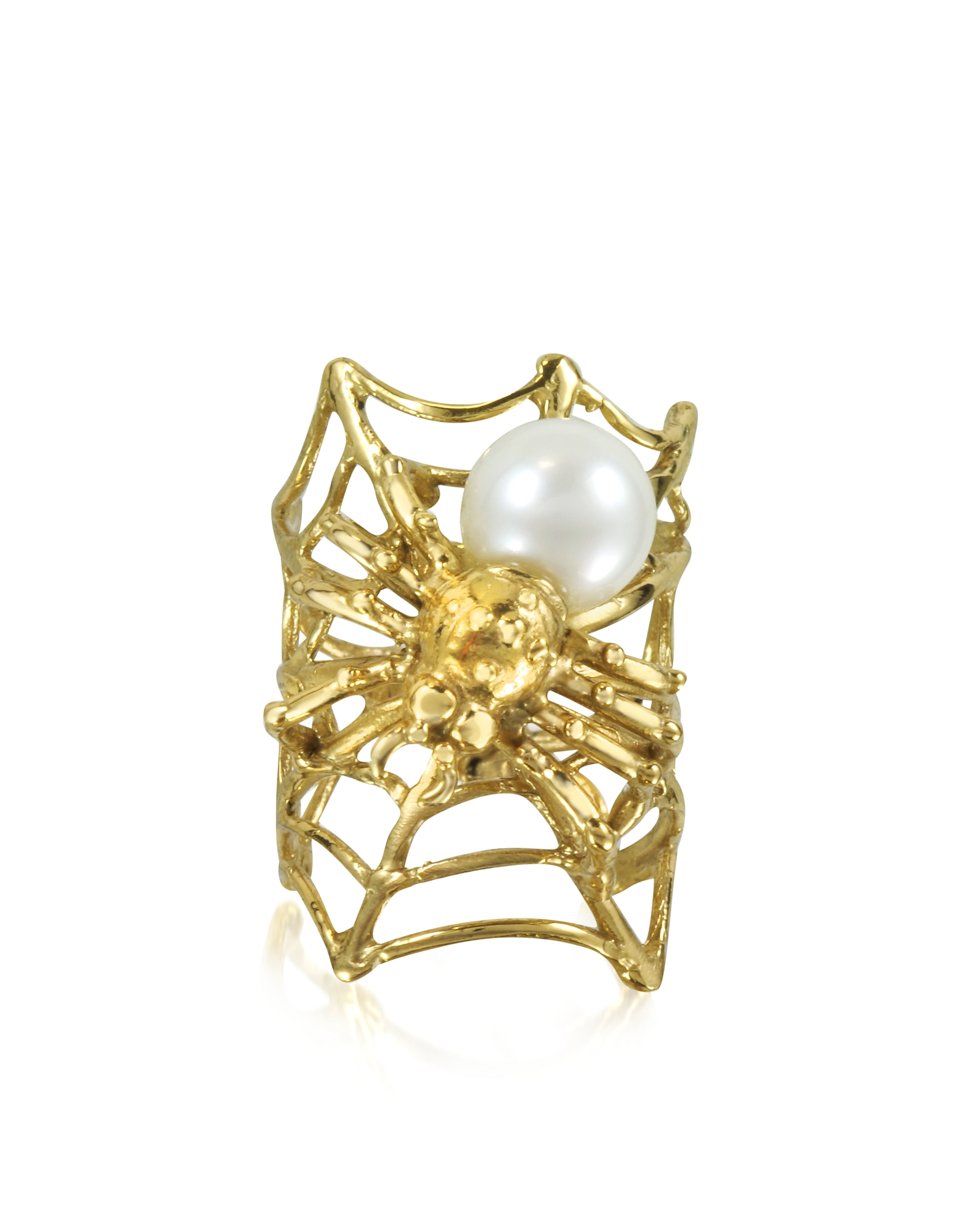 Bernard Delettrez Rings, Web and Spyder Bronze Ring w/Pearl