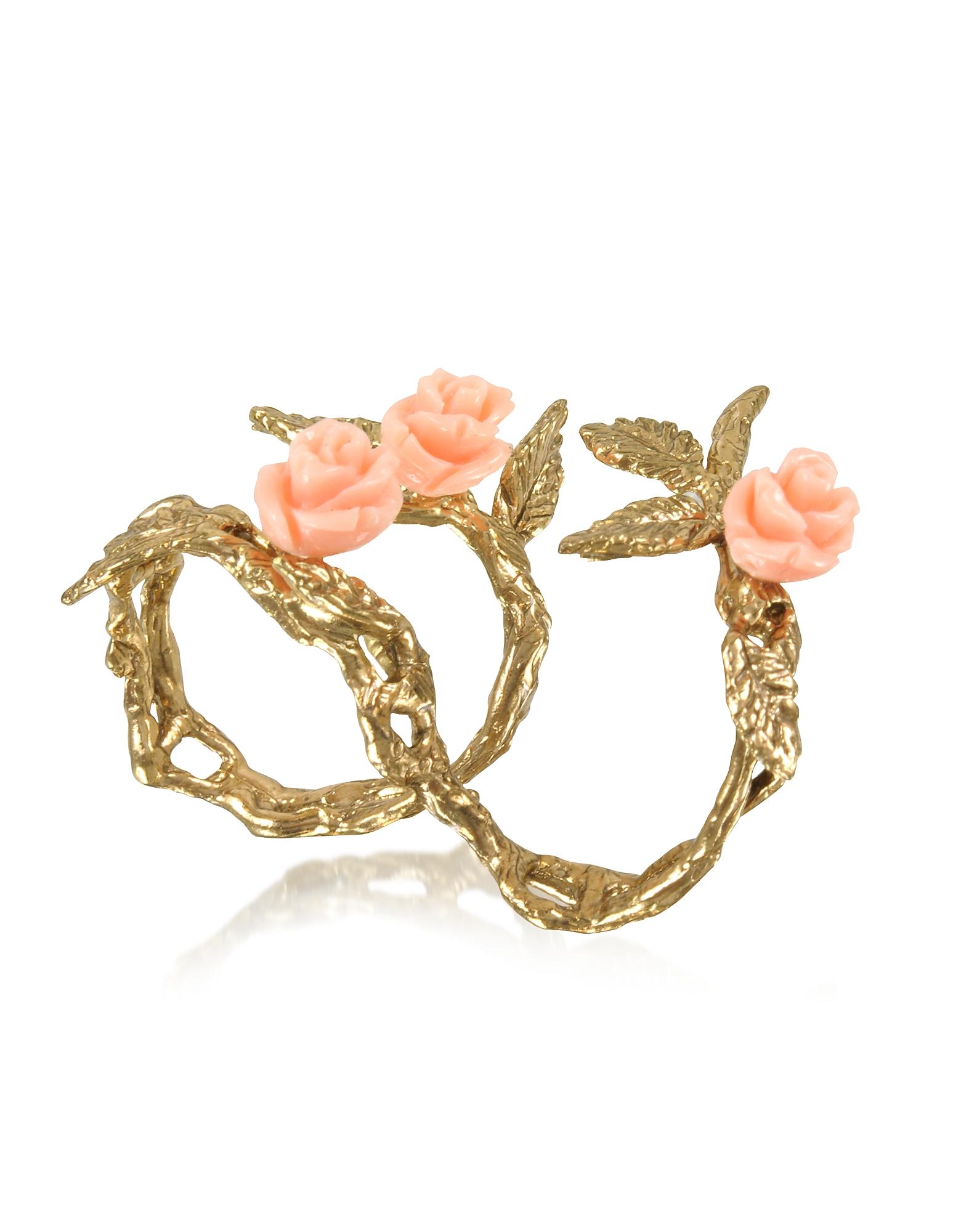 Bernard Delettrez Rings, Two Fingers Leafy Bronze Ring w/3 Pink Resin Roses