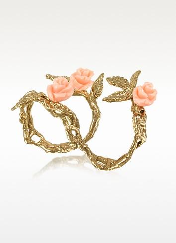 Two Fingers Leafy Bronze Ring w/3 Pink Resin Roses - Bernard Delettrez