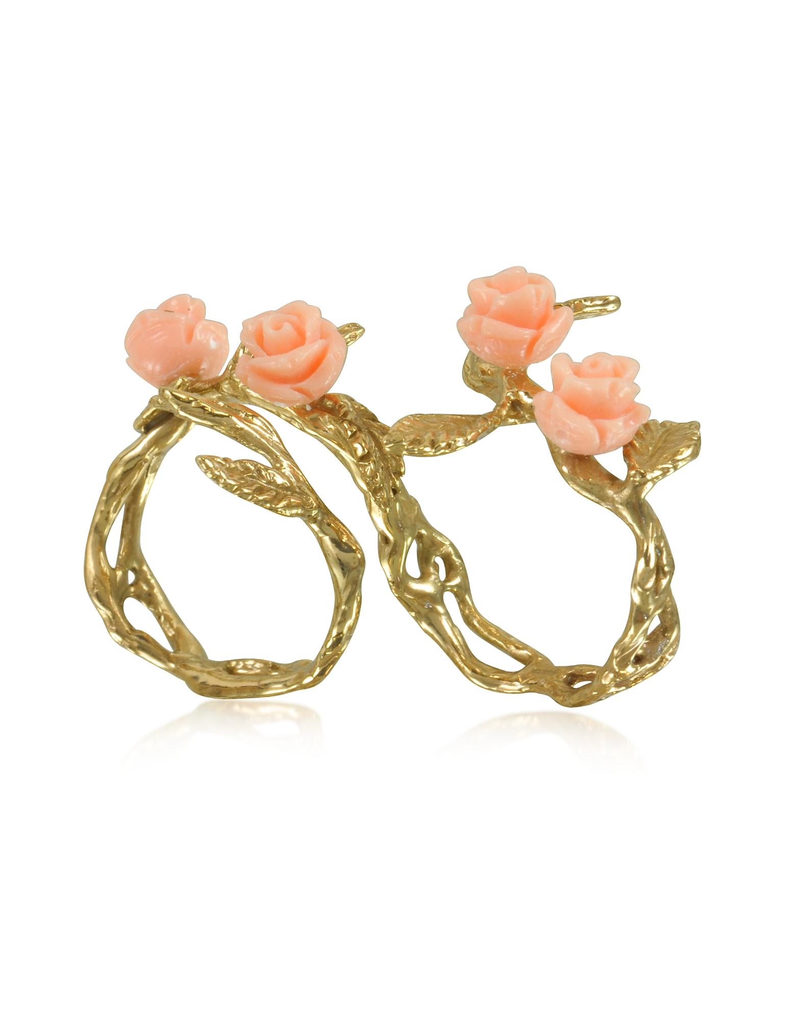 Бронзовое Кольцо на Два Пальца с Листьями и 4 Розовыми Розами из Смолы