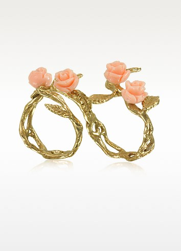 Two Fingers Leafy Bronze Ring w/4 Pink Resin Roses - Bernard Delettrez