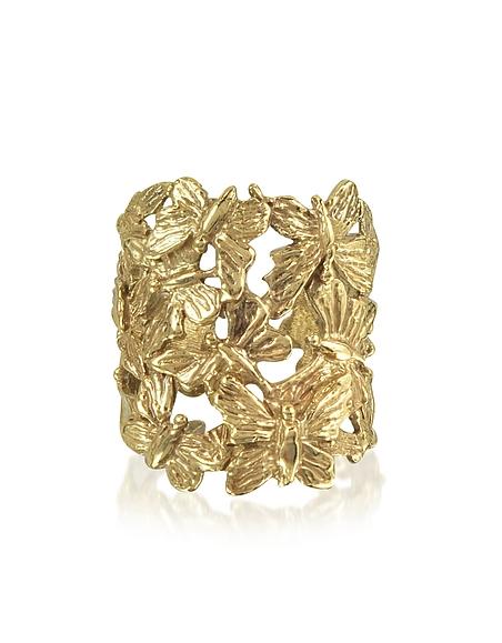 Bernard Delettrez Bague en Bronze Doré avec Papillons