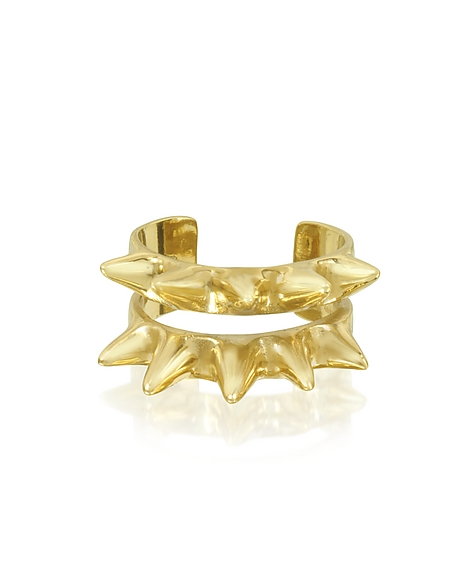 Bernard Delettrez Double Band Ring aus Bronze mit Spikes