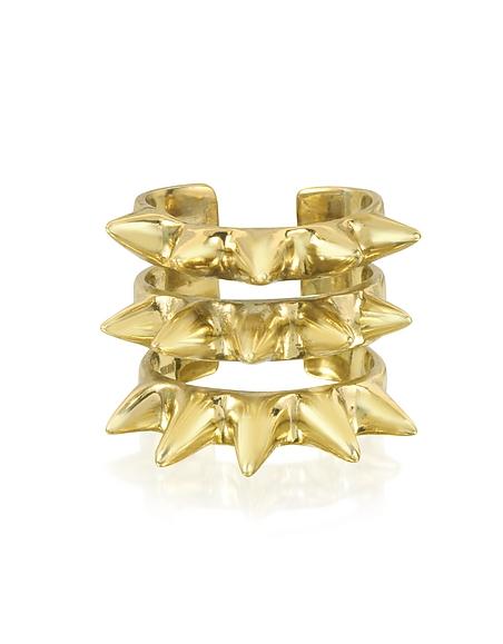 Bernard Delettrez Triple Band Ring aus Bronze mit Spikes
