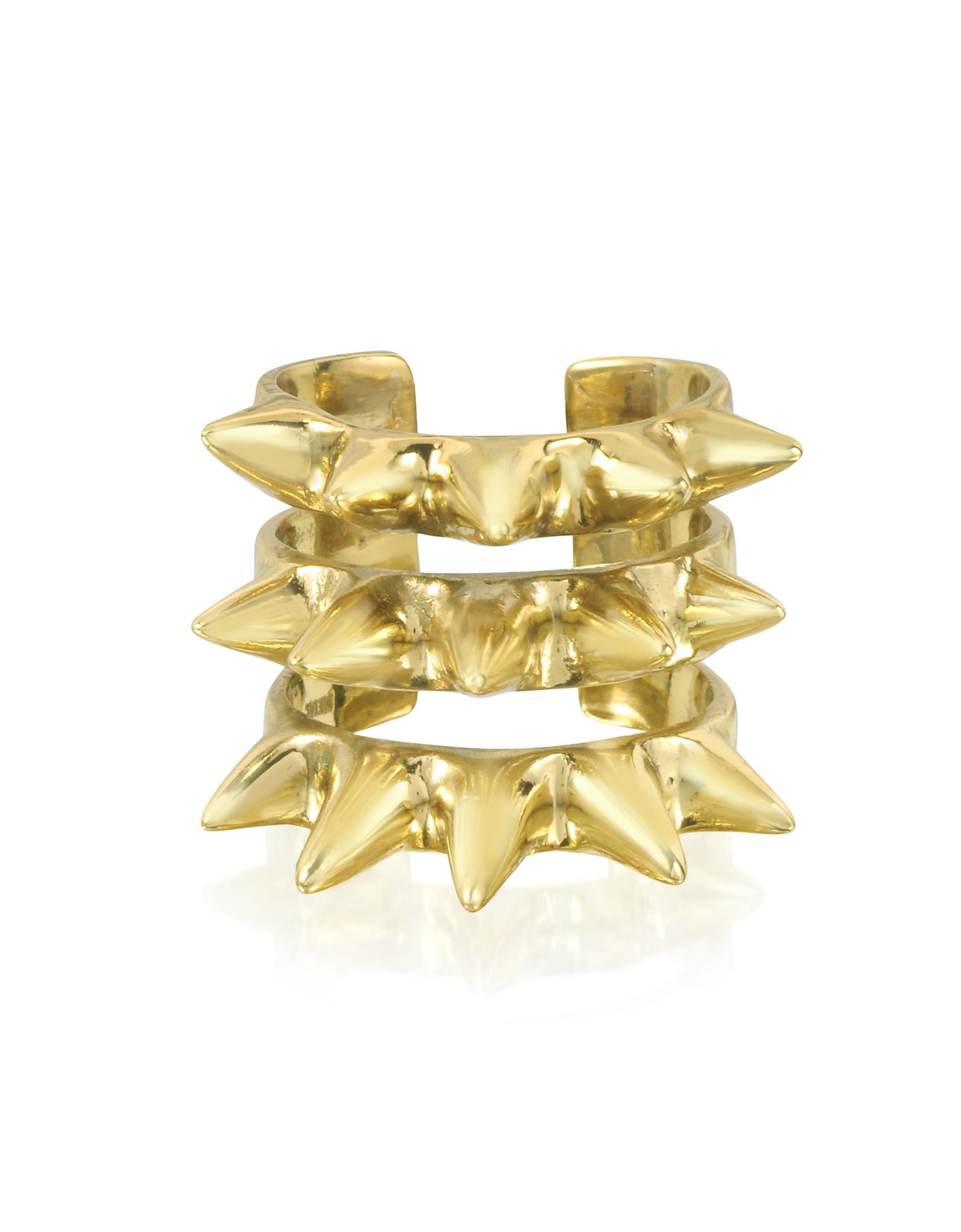 Bernard Delettrez Rings, Triple Band Bronze Ring w/Spikes