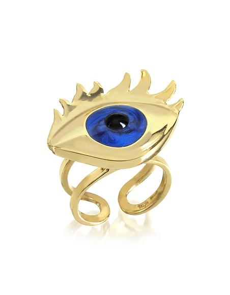Foto Bernard Delettrez Anello Blu Eye in Bronzo Ceramizzato Anelli