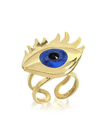 Bernard Delettrez - Blue Enamel Eye Bronze Ring