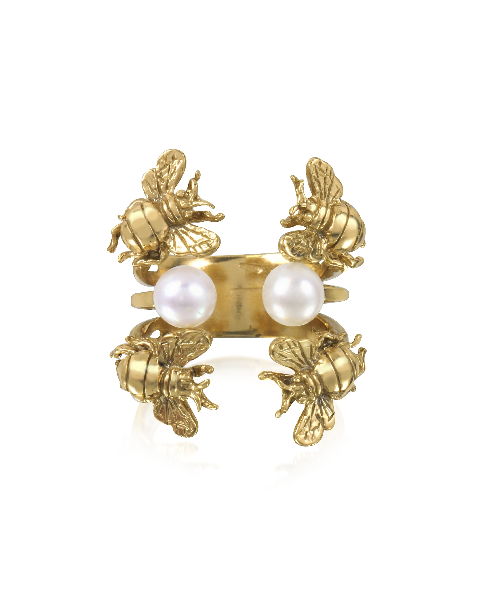 Bernard Delettrez Rings, Bees and Pearls Bronze Ring