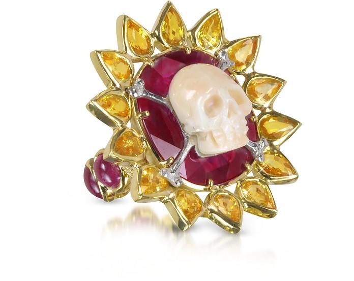 Gold, Ruby and Yellow Sapphires Skull Bone Ring - Bernard Delettrez