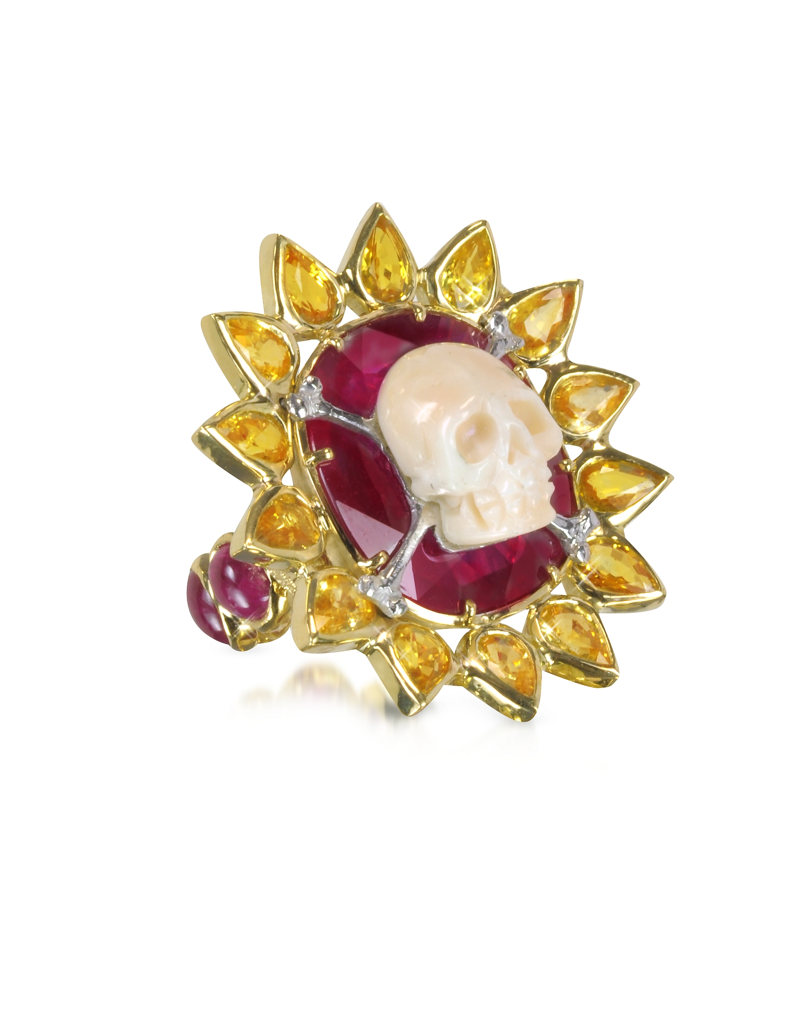 Bernard Delettrez Rings, Gold, Ruby and Yellow Sapphires Skull Bone Ring