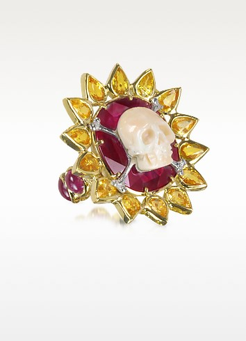 Gold, Ruby and Yellow Sapphires Skull Bone Ring - Bernard Delettrez