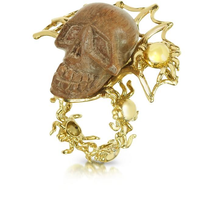 Gold with Wooden Skull Web Ring - Bernard Delettrez