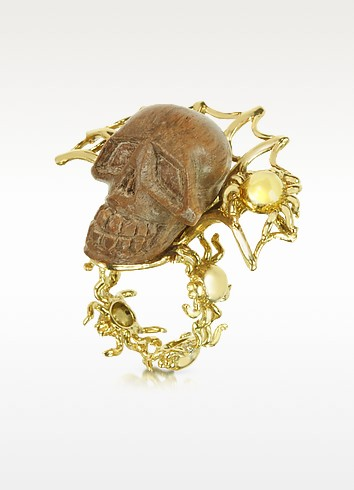 Gold with Wooden Skull Web Ring - Bernard Delettrez