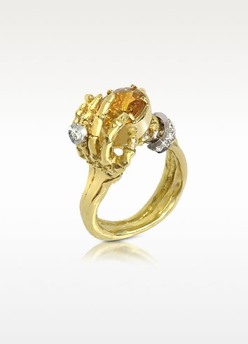 Yellow Sapphires and Gold Skeleton Hands Ring - Bernard Delettrez