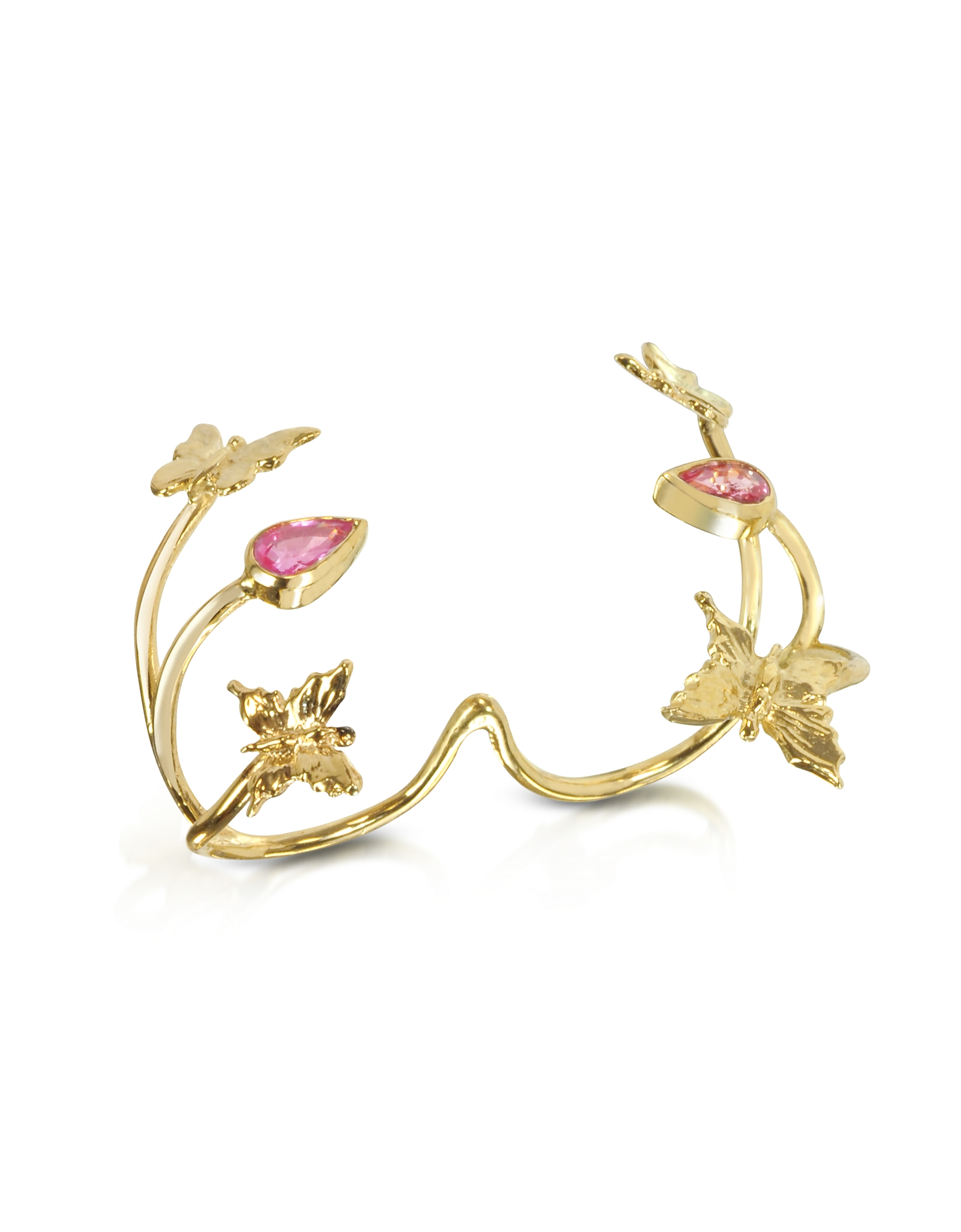 Bernard Delettrez Rings, Butterfly and Pink Sapphires Gold 2 Fingers Ring