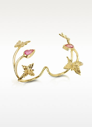 Butterfly and Pink Sapphires Gold 2 Fingers Ring - Bernard Delettrez
