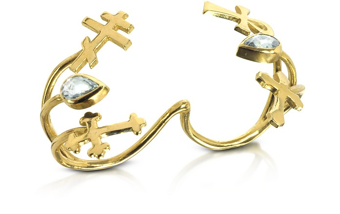 Gold with Green Sapphires Double Ring with Crosses - Bernard Delettrez