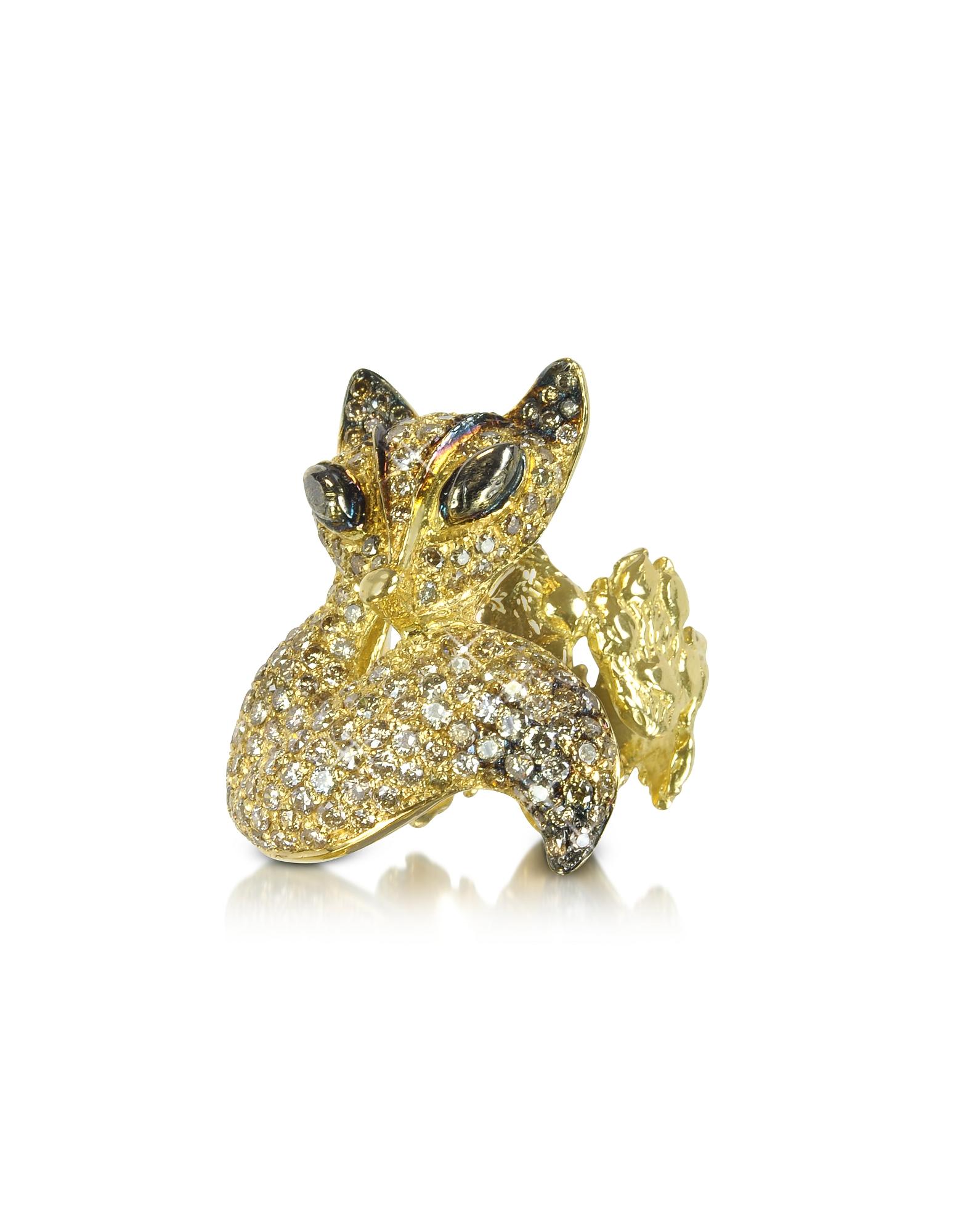 Bernard Delettrez Designer Rings, Gold and Cognac Diamonds Fox Ring
