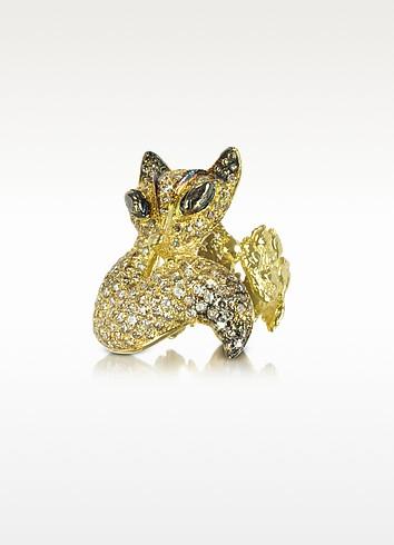 Bernard Delettrez Gold And Cognac Diamonds Fox Ring Usa 5