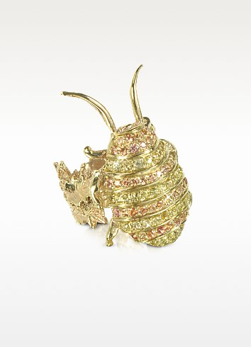 Gold with Sapphires Cockroach Ring - Bernard Delettrez