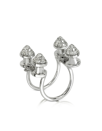 Bernard Delettrez - Four Studs with Diamonds Ring