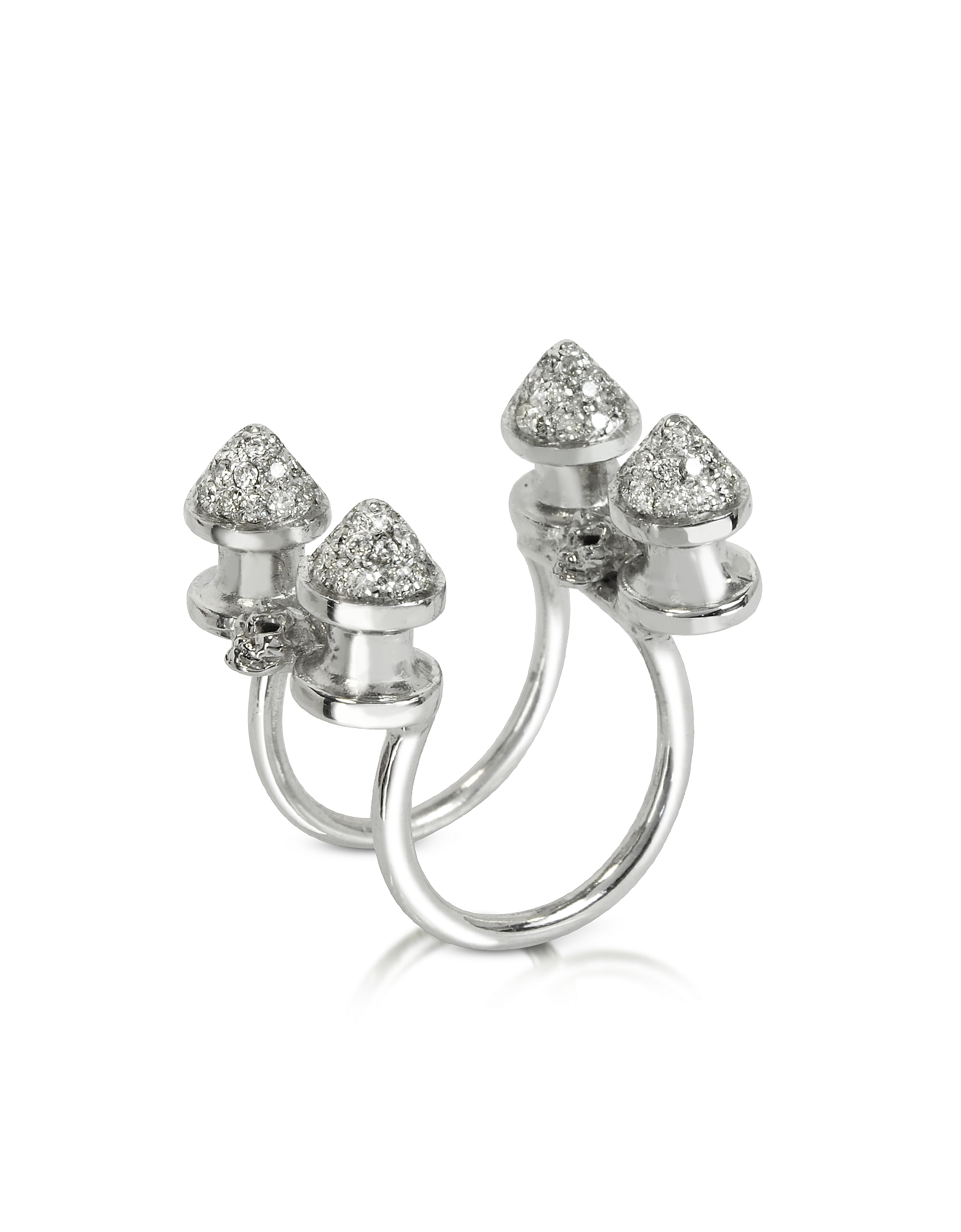 Bernard Delettrez Rings, Four Studs with Diamonds Ring